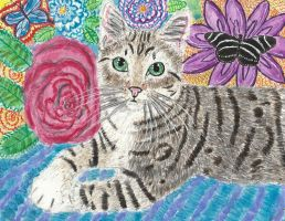 Tabby  cat watercolor painting by tulipteardrops