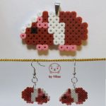Hama guinea pig earrings and pendant (on Etsy) by VilDeviant