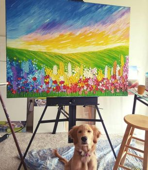 Field of Flowers 36x48 with Golden Retriever Puppy by JessicaTHamilton