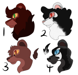 Closed ~ (0/4) - adoptable Tlk headshots by Wolfmylove04