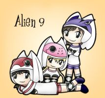 Alien 9 trio for Neco-ohno by silverei
