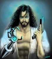 Cyborg Korean Jesus with Gun and Robotic Arm by Eastfist