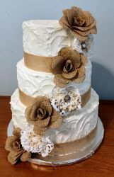 Burlap and lace wedding cake by cake-engineering