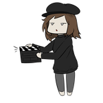 Animated gif doodle - Chibi director by InsomniaDoodles