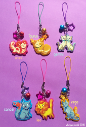 Zodiac Cat Charms (1/2) by whinges