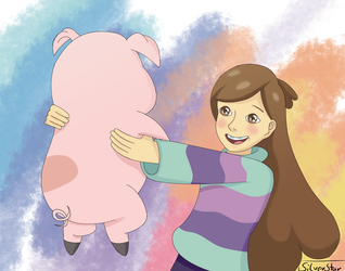Mabel and Waddles(Gravity Falls,Screenshot Redraw) by Silver-31-Star
