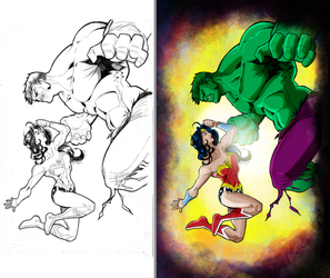 Wonder Woman V Hulk - B4 and After Colors by criv215