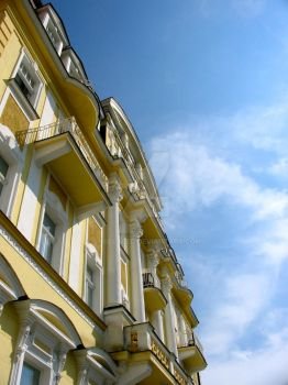white+yellow building, sky by sh0elaced
