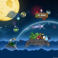 Angry Birds Space Pig Bang iPad Wallpaper by sal9