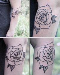 WIP ROSE OUTLINE TATTOO by sHavYpus