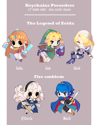 TLoZ and Fire Emblem Charms - CLOSED by Nelliette