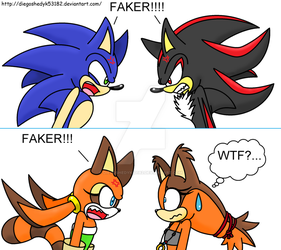 Marine, Sticks, Shadow and Sonic - FAKER!!!! by DiegoShedyk53182