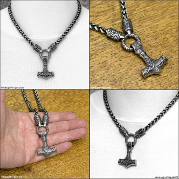 The Warrior's Necklace with Sculptured Mjolnir by GoodSpiritWolf