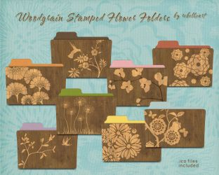woodgrain stamped flower folders v1 by seven4soul