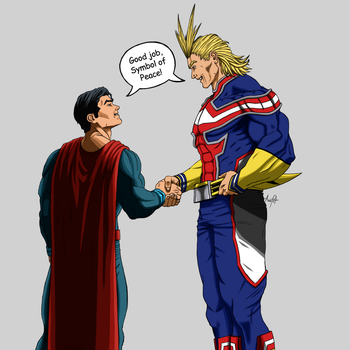 All Might and Superman by AnaLeticia2017-CM