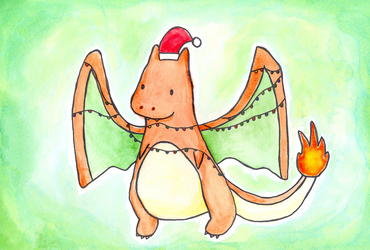 Christmas Charizard by luartandcomics