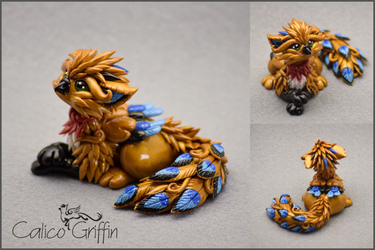 Kujakini the Peacock Griffin - polymer clay by CalicoGriffin