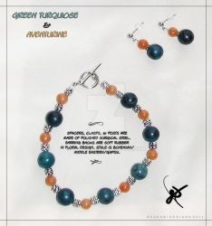 Turquoise and Aventurine Bracelet and Earrings Set by KAW-7391