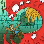 Me vs.  Tentacled Monster by slackmatic