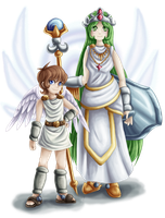 Pit and Palutena by Lady-of-Link