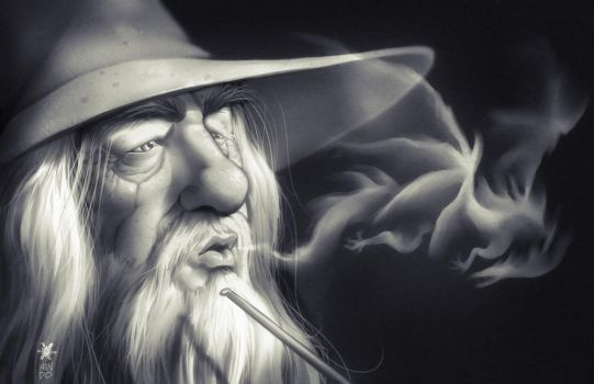 Gandalf and Smaug by Mundokk