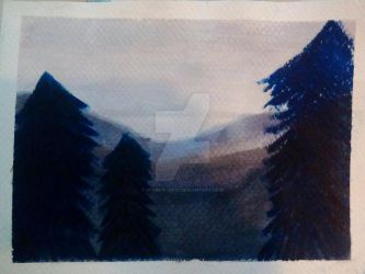 Watercolor Demo Painting 3- Mountain Landscape by Sparky--Nigo