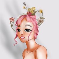 Pink Flower Girl by CoffeeEatsBunny