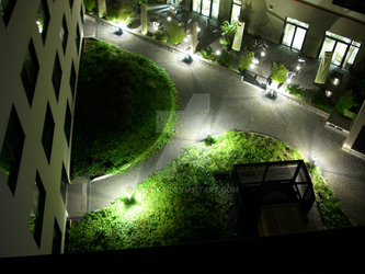 Hotel garden by night by uxokka