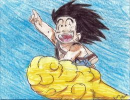 Goku on the flying nimbus by ChibiNinjaKARA