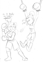 (Commission) Two Boxing Girls Sketch by Ult147Doodles