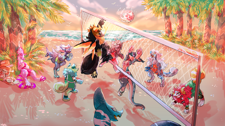 Volleyball at Sunset by asctrofox