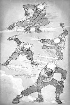 Fighting Kakashi poses by KejaBlank