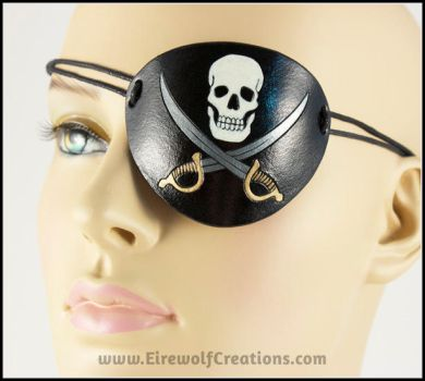 Jolly Roger Skull and Swords eye patch by EirewolfCreations