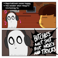*You wonder what Napstablook is listening to. by Laanci