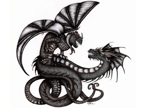 Dueling Dragons- Ballpoint Pen by machine-guts