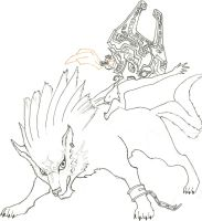 Wolf link and Midna Lineart by CAP7AIN-TEZZ-VII
