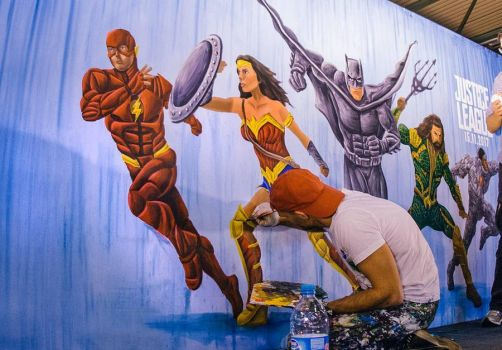 Justice League Live Painting by BenHeine