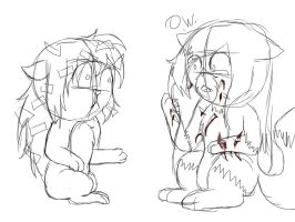 Why you dont hug a porcupine/Kimi and Flaky by Kimithecatwolf