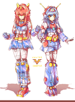 Voltes V and Combattler V - Mecha Musume by Arzeith-tau