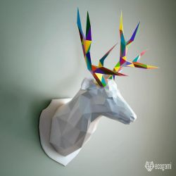 Deer trophy papercraft by EcogamiShop
