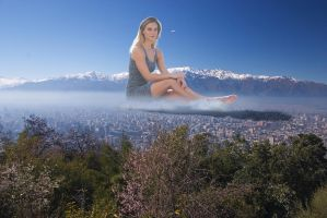Bar Refaeli sitting on top of Santiago in the morn by Natkatsz
