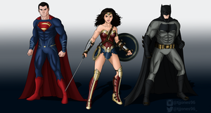 Superman Wonder Woman and Batman BvS by TJJones96