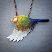 rainbow bird necklace by szaranagayama