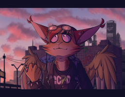 Night Owl - Fursona art by Ashesfordayz