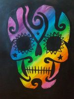 rainbow sugar skull  by TaitGallery