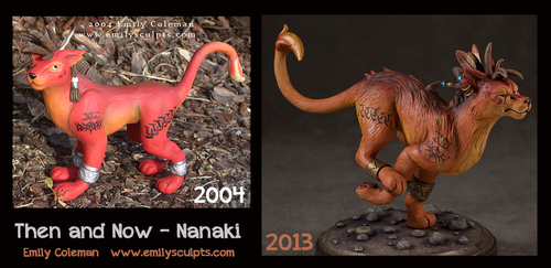 Then and Now : Nanaki Sculpt by emilySculpts