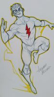 Kid Flash commission sketch at Argentina Comic Con by LucianoVecchio