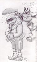 Monofell!Sans emotionally unstable -sketch-  by catgir