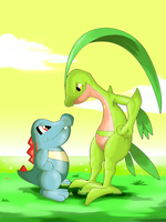 Totodile VS Grovyle by GTS257-CT