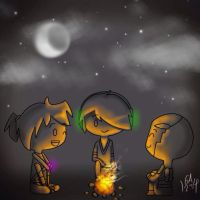 Chibi's by the campfire by Gameaddict1234